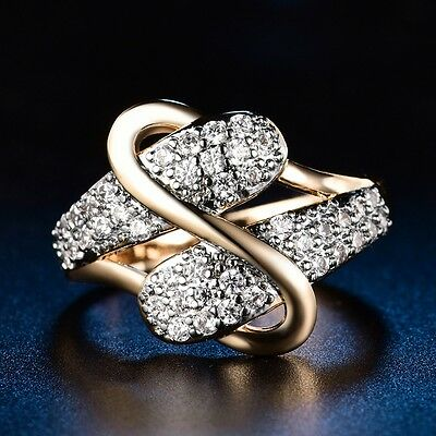 Vintage Charm Women White Sapphire Crystal Gold Filled Eternity Engagement Ring