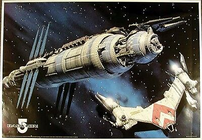 "Vintage Babylon 5 Spaceship Poster from Germany  23""x34""  ROLLED B5POB001"