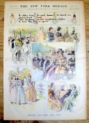 <1899 newspaper POSTER EASTER SPRINGTIME Victorian Era Bicycle Equestrian