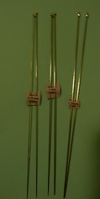 Set of 3 pairs of thin needles for Miniature Knitting - 0.75,1,1.25mm (6x0-4x0)