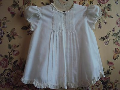 VINTAGE FELTMAN BROS. (FB) HAND MADE WHITE COTTON VOILE INFANT DRESS and SLIP