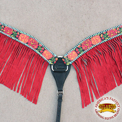 Hilason Western Leather Horse Breast Collar Floral Fringes Red Hand Paint