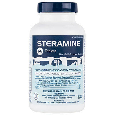 Steramine Sanitizer Sanitizing Tablets Bottle Sanitab