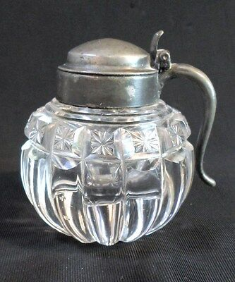 Antique MELON SHAPED MUSTARD JAR - CUT GLASS with Hinged PEWTER LID & HANDLE