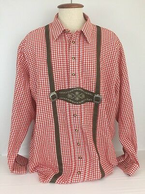 German Trachten Shirt Lederhosen Oktoberfest Red Checkers 3XL XXXL Mc11