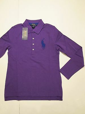New with tag NWT Girls Ralph Lauren Purple LongSleeve Polo Shirt M L XL Big Pony