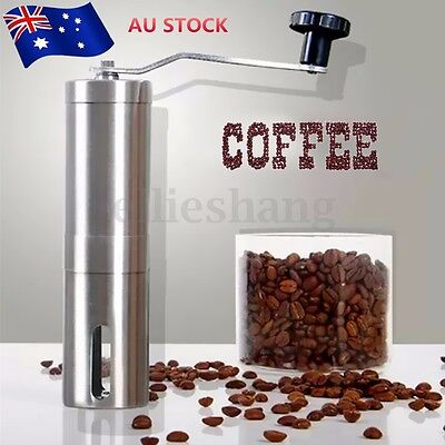 Stainless Steel Manual Coffee Bean Grinder Spice Nuts Grinding Mill Hand Tool AU