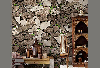 Modern Rustic 3D Brown Rock Stone look wallpaper Industrial Shop wall paper