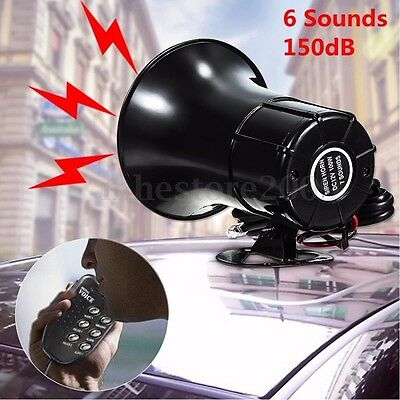 Car Warning Alarm Police Fire Siren Horn PA Loud Speaker MIC System 6 Sound Tone
