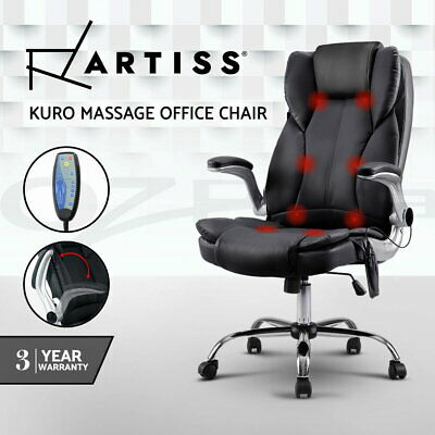 NEW 8 Point Massage Executive Office Computer Chair Remote PU Leather Armrests