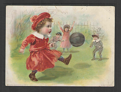 "1880s LION COFFEE MIDSUMMER KIDS KICKING BALL VICTORIAN TRADE CARD Lg 5"" X 6.75"""