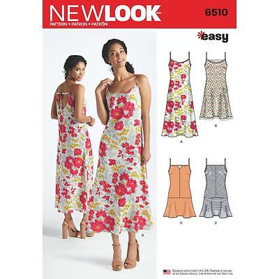 NEW LOOK SEWING PATTERN MISSES\' Slip Dresses Length & Back ...