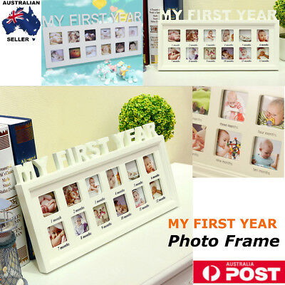 Baby MY FIRST YEAR Photo Frame White Picture Display 12 Months Birthday Gift AU