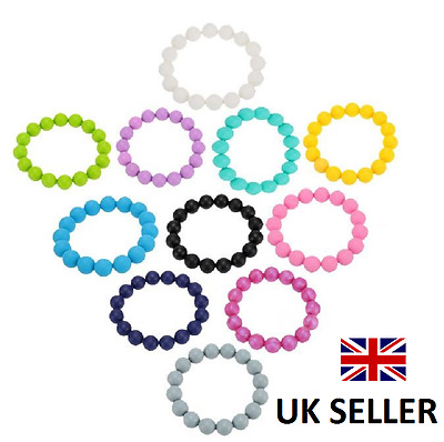 CMJ Silicone Chew Biting Bracelet Baby Teething Teether Bangle Chewy Beads UK