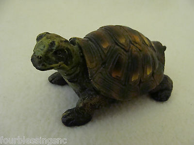 Vintage Resin Turtle Figurine-Carved-Green With Brown Shell-Beady Eyes-