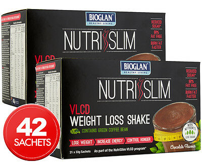 2 x Bioglan NutriSlim VLCD Weight Loss Shake Chocolate 21pk