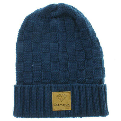 5ca5602f801 DIAMOND SUPPLY CO Skateboard Beanie Checker Navy Brown (One Size Fits All)