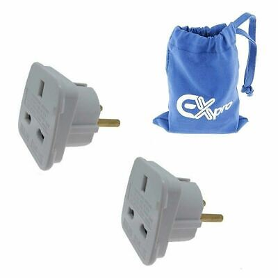 Ex-Pro® 2 Pack Travel Adapter Converts UK Plugs to Spain Sudan Suriname Sweden