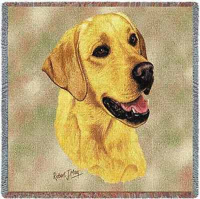 Lap Square Blanket - Yellow Labrador Retriever by Robert May 1152