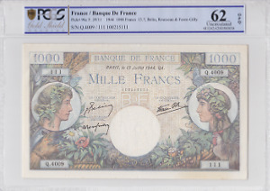Billet 1000 francs Commerce et Industrie 13-07-1944