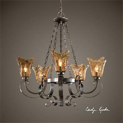 Old World Tuscan 5 Light Chandelier Heavy Glass Globes