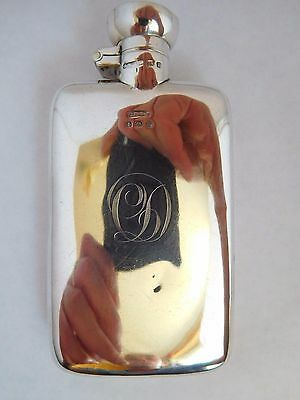 Good Quality Antique Solid English Sterling Silver Hip Flask - Racing Interest