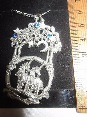 "Gallo Hippocampus Pendant on 22"" Chain Necklace Pewter Blue Rhinestone Unicorn"
