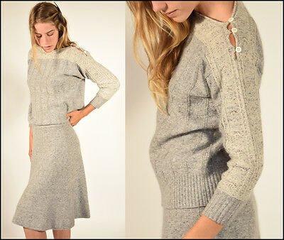 Vtg 60s heather gray + oatmeal 2 PIECE pointelle knit HOURGLASS sweater + skirt