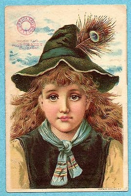 A5274 Trade Card Wood Tag Plug Tobacca Girl with soft hat Eureka Cash Store