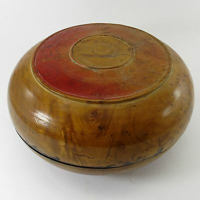 BIRDSEYE MAPLE/BURL Antique TREENWARE WOODEN BOX Hand Turned PRIMITIVE CONTAINER