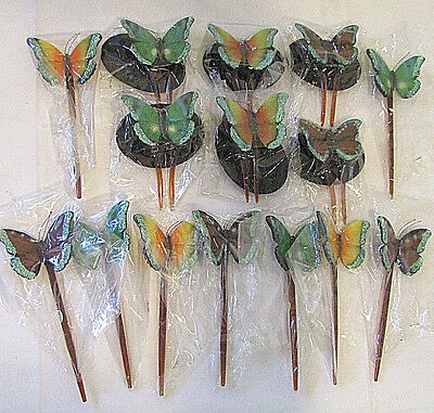 Glitter Butterfly Butterflies Hair Stick Prong Pin Pic Hair Jewelry Lot of 15