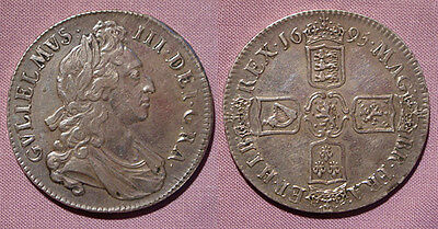 1695 KING WILLIAM III CROWN - 1st BUST SEPTIMO - Higher Grade Example