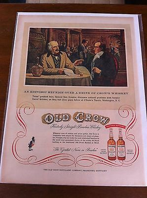 Vintage 1954 Old Crow General Sam Houston Whiskey Print ad