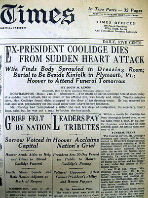 2 1933 hdlne display newspapers  DEATH & FUNERAL of Ex-PRESIDENT CALVIN COOLIDGE