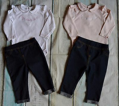 Baby Girls Designer Clothes Bundle Dior Tops Matalan Jeggings 6-9 Months Vgc