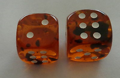 set of 2 Natural cognac   Baltic Amber dice  large 14 mm