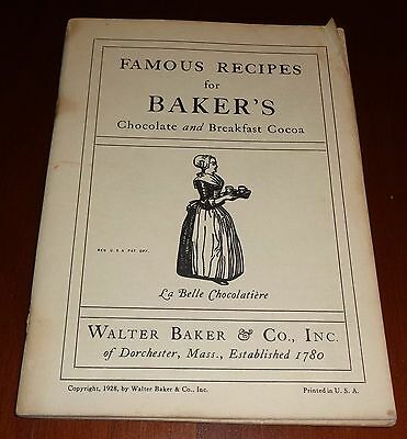 Vintage/Antique 1928-Famous Recipes for Bakers Chocolate and Breakfast Cocoa