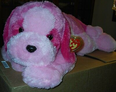 """Ty Classic Plush ~ YODEL the 36"""" (Extra Large) Pink Dog ~ MINT with MINT TAGS"""