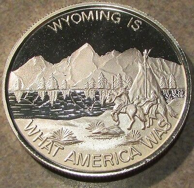 Wyoming is What America Was 1 Troy Oz. .999 Silver Round - WY Wyo. Vintage