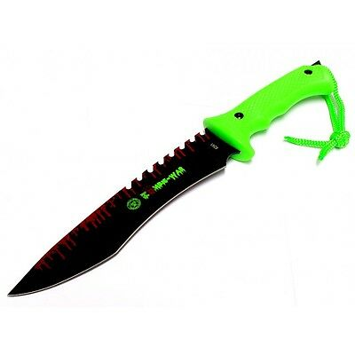 """13"""" Zombie-War Stainless Steel Hunting Knife with Neon Green Handle. 8261"""