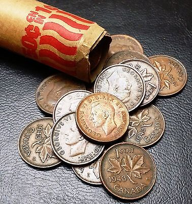 Roll of 50x 1943 Canada Small Cents (Penny) ***GREAT CONDITION*** King George VI