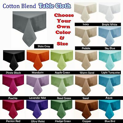 21 Color - Cotton Blend Table Cloth - ROUND SQUARE RECTANGLE 6-8, 8-10, 10-12 Se