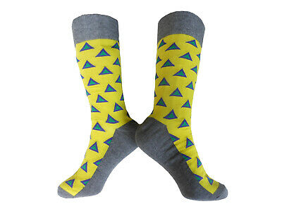 Socks Tall Cycling Spring/Autumn EU 38 - 45 Yellow/Grey Triangle