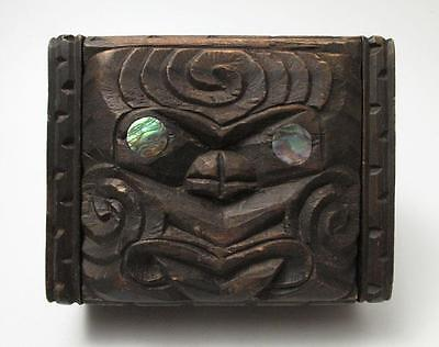 Vintage Maori Tiki Hand Carved Wooden Feather Trinket Box New Zealand Tribal