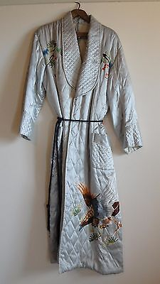 Vintage Silver Gray Satin Quilted Embroidered Asian Robe