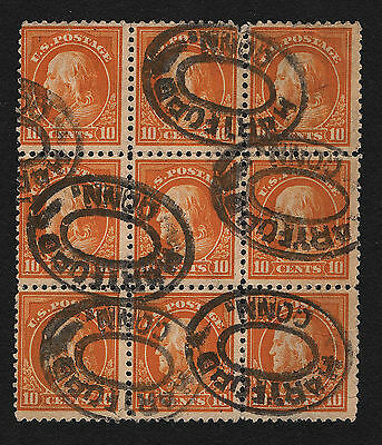 OPC 1917 US Sc#510 10c Franklin Block of 9 Used Assorted Small Faults