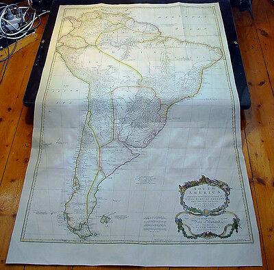 1755 Thomas Bowen & J B D' Anville Very Large Old, Antique Map of South America