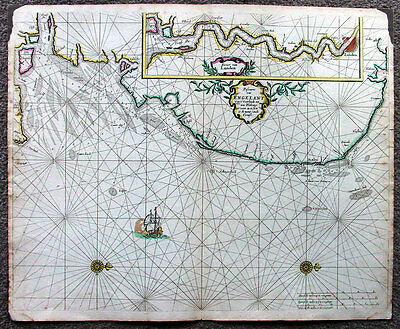 1676 Pieter Goos Large Old, Antique Map of SE England, River Thames, London
