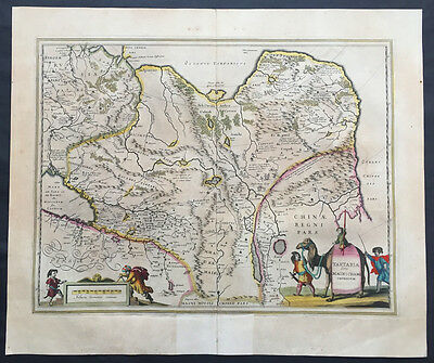 1639 Jansson Large Antique Map of Russia & China Tartary, Siberia - Great Wall