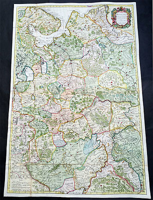 1712 Senex Very Large Antique Map of Russia, Moscow - Finland to Azov Sea